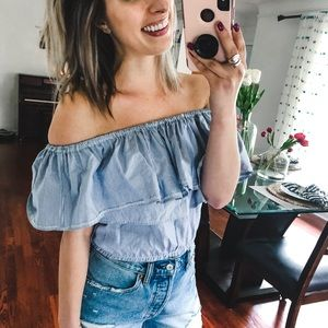 Urban Outfitters Off The Shoulder Striped Top M/L